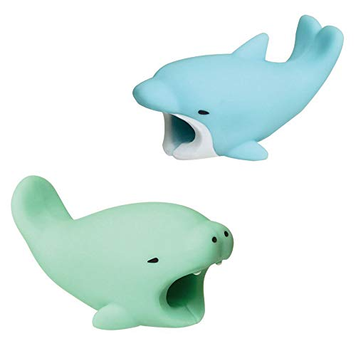 Kalolary 2 Pack Cute Animals Cable Chewers Cable Accessories Phone Cables Protector (Dolphin, Manatee)