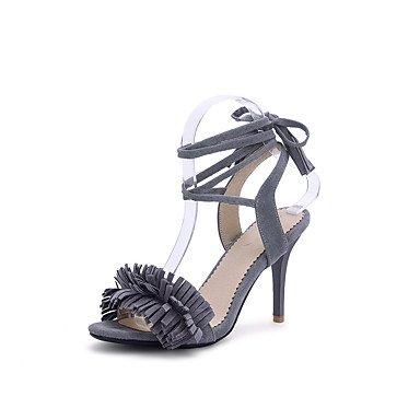 Sandalias Primavera Verano Otoño Zapatos Club polipiel parte & Noche Casual Stiletto talón Lace-up Borla Rosa Negro Gris rojo Gray
