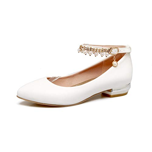 (JEFCY Women Thick Low Heel Pumps Pointed Toe Ankle Strap Pearl Mary Jane Comfort Slip On PU Flat Dress Shoes White)