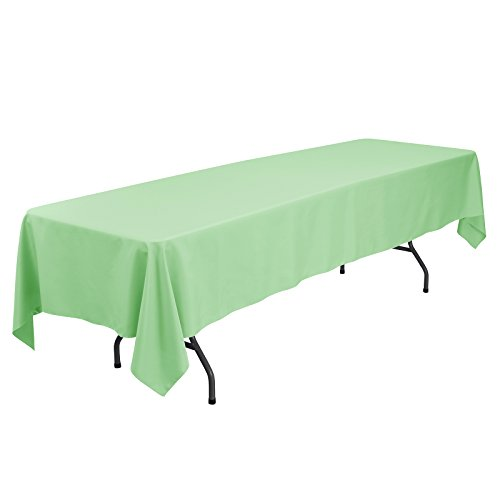 VEEYOO 60 x 126 inch Rectangular Solid Polyester Tablecloth for Wedding Restaurant Party Banquet Thanksgiving Reuseable, Mint Green