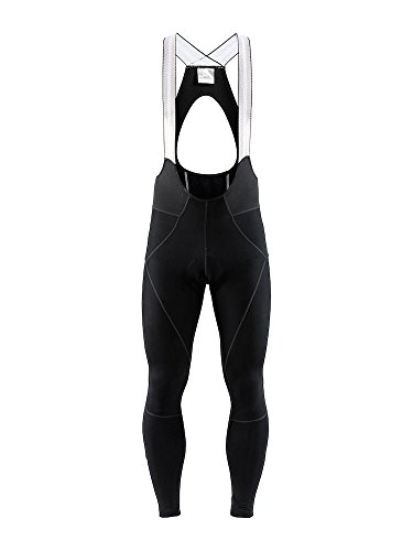 Craft Sportswear Mens Ideal Pro Thermal Reflective Cycling Bike Riding Water Repellent Bib Tight Pant with C1 Pad Chamois, Black, Medium