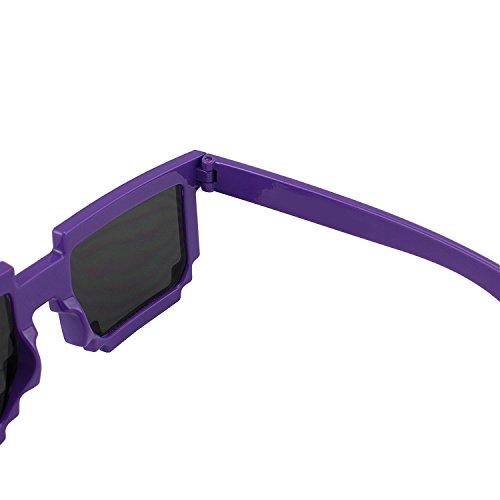 Ender Girl Costume (1 Pair 8-Bit Pixel UV Protect Gamer Sunglasses Adult Kids Party Favors (Purple) By Shanhai)