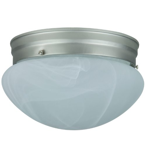 Sunlite HALL6/BN 6-Inch Mushroom Ceiling Fixture, Brush Nickel Finish with Alabaster Glass - Ceiling Mushroom