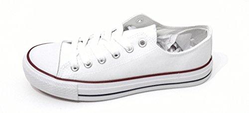 Weißer Damen Sneaker Canvas Turnschuh, Casual Style Retro Halbschuh Sportlicher Schnürer für Frauen