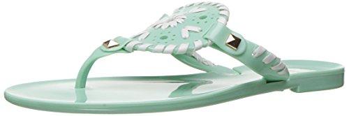 Green Jelly Sandals (Jack Rogers Girls' Miss Georgica Jelly Sandal, Mint/White, 4 M US Big Kid)