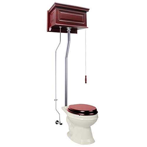 (Cherry Wood Raised High Tank Pull Chain Toilet Bone Elongated Satin Rear Entry Design Hardware Included)