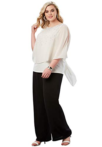 Roamans Women's Plus Size Studded Pant Set - Ivory, 26 W ()