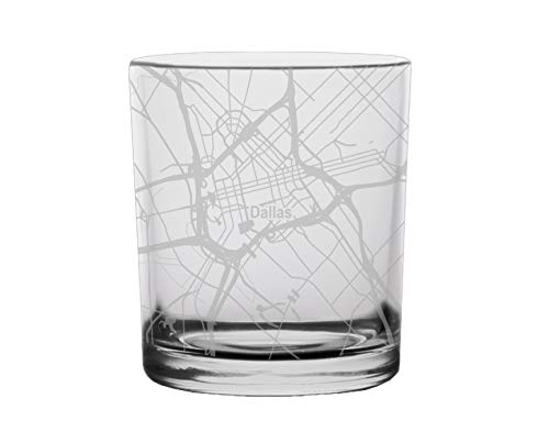 Dallas City Map Whiskey Glass Texas