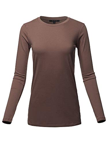 Basic Solid Soft Cotton Long Sleeve Crew Neck Top Shirts Americano S