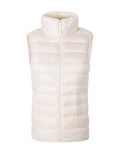 ZhuiKun Women Ladies Ultralight Down Vest Sleeveless Jacket Gilet Body Warmer Coat White