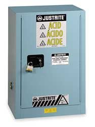 Justrite 12 Gallon Blue Sure-Grip EX 18 Gauge Cold Rolled Steel Compact Corrosives/Acid Safety Cabinet With (1) Self-Closing Door And (1) Adjustable Shelf (For Corrosive Acids)