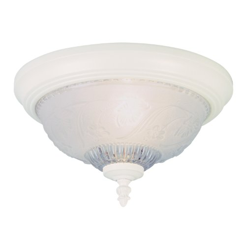 Westinghouse 6616100 One-Light Flush-Mount Interior Ceiling Fixture, Textured White Finish with Embossed Floral and Leaf Design Glass - Floral Ceiling Fixture