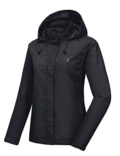 omen's Waterproof Mountain Jacket, Rain Jacket Black Size XS ()