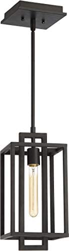 Craftmade 41591-ABZ Cubic Industrial Liner Mini Pendant Lighting, 1-Light, 60 Watts, Aged Bronze Brushed 7 W x 15 H