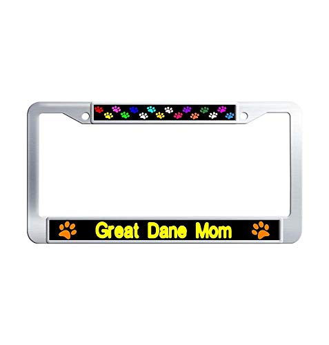 Nuoyizo Great Dane Mom License Plate Frame Vintage Metal Waterproof Stainless Steel License Plate Frame Holder with Bolts Washer Caps for US Standard ()