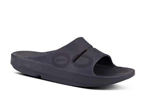 (OOFOS - Unisex OOahh Sport - Post Run Recovery Slide Sandal - Matte Black - M12/W14)
