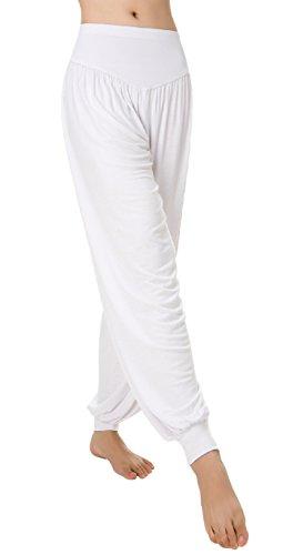 Urban CoCo Womens' Solid Color Soft Elastic Waistband Fitness Yoga Harem Pants (Large, White) (Leggings Cotton White)