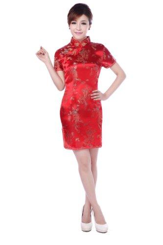Acvip Brocart Cocktail Modifié Chinois Rouge Mini Robe