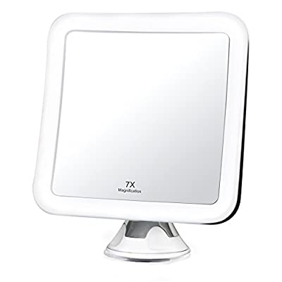 """Fancii 7x LED Lighted Magnifying Makeup Mirror with Strong Suction - 6.5"""" wide, Natural Daylight, Cordless Portable Vanity Mirror with Lights (Square) - Mira 7"""