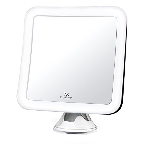 Fancii 7x LED Lighted Magnifying Makeup Mirror with Strong Suction – 6.5 wide, Natural Daylight, Cordless Portable Vanity Mirror with Lights Square – Mira 7