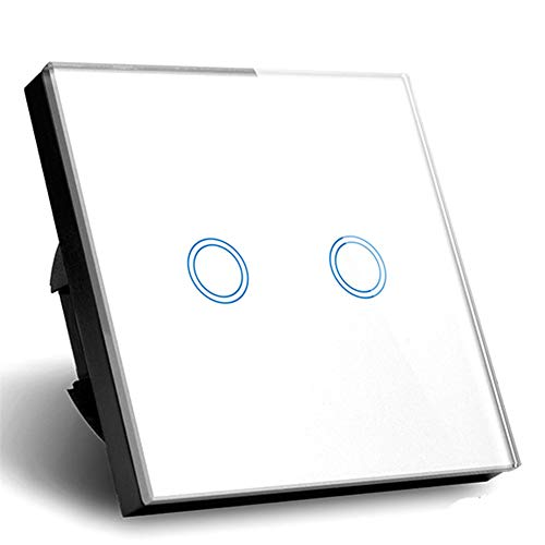 Touch interruptor de pared blanco color 2 Gang 1 Way pared cristal un de Touch Switch: Amazon.es: Iluminación
