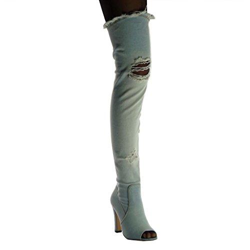 Angkorly Damen Schuhe Oberschenkel-Boot Stiefel - Flexible - Peep-Toe - Vintage-Stil - zerrissene - Ausgefranst Blockabsatz High Heel 10.5 cm Hellblau