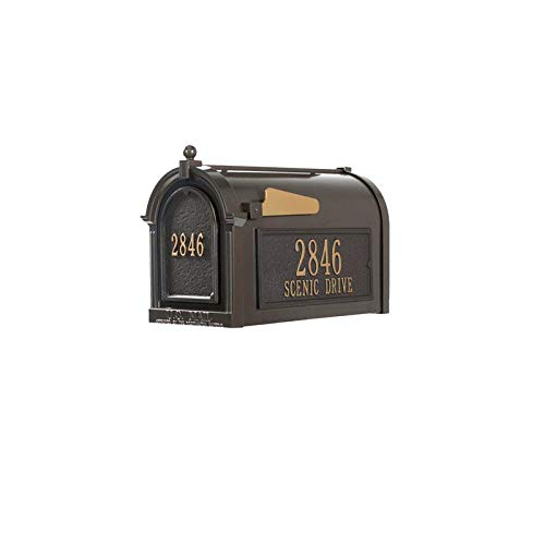 Doors Whitehall - Whitehall 16508 Aluminum Capitol Mailbox Side Plaques and Door Plaque Package in Bronze/Gold