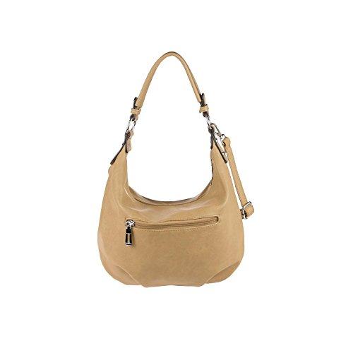 OBC Damen Tasche HANDTASCHE Shopper METALLIC Hobo-Bag Henkeltasche Schultertasche Umhängetasche CrossOver Tote-Bag Freizeit Hellgrau Camel
