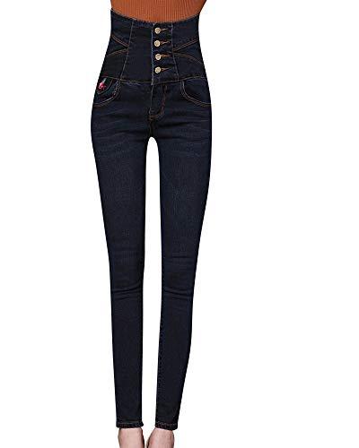 Jeans Pantalons Stretch Pour Denim Bo Haute Simple Skinny Taille En Femmes Chic Dunkelblau VpzGUqMS