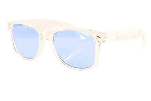 FBL Eye-Candy Color Horn Rimmed Clear Frame Spring Hinge Wayfarer Sunglasses A083 - Blue Lens Wayfarer