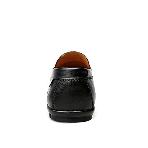 Sunny&Baby Mocassins de Penny de Conduite pour Hommes Bare Vamp Slip-on Casual Mocassins de Bateau en Caoutchouc Souple Anti-Dérapage (Color : Noir, Taille : 47 EU) Noir