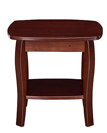 Ravenna Home Anne Marie Small Curved Leg Shelf Storage Side End Table, 20 W, Dark Espresso