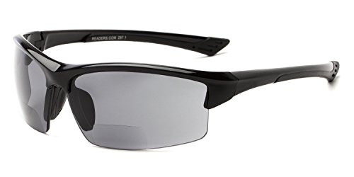 (Readers.com Bifocal Reading Sunglasses: The Foster Sunglass Readers for Men and Women - Glossy Black with Smoke, 2.00)
