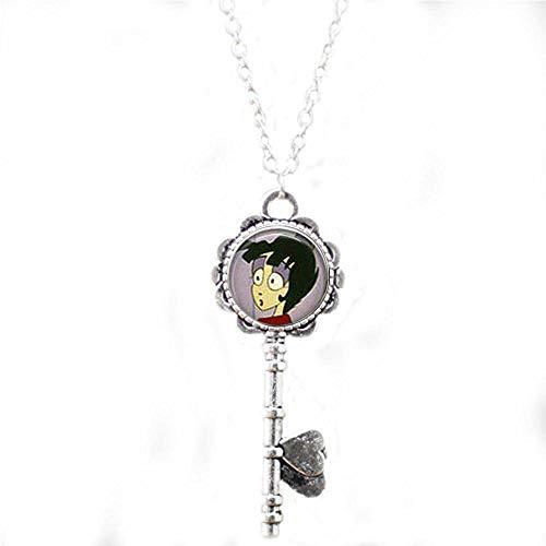Beetlejuice & Lydia Cartoon Key Necklace