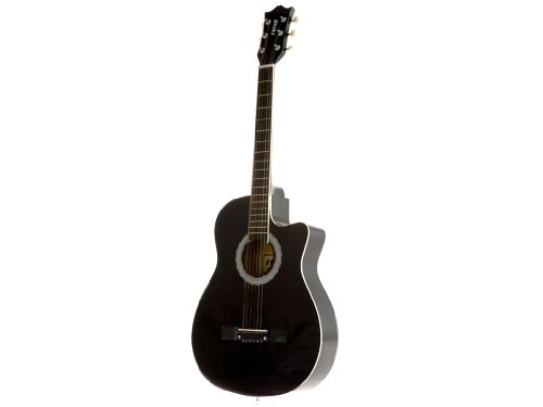 Fever FV-030C-BK 3/4 38-Inch Acoustic Cutaway Guitar, Black