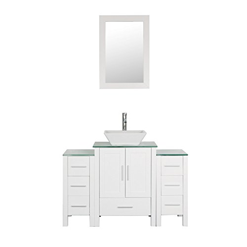 Goodyo 48 inches White Bathroom Vanity Cabint Combo with 1 Main Cabinet and 2 Side Cabinets Tempered Glass Countertops (Bathroom Vanity 48 Inch With Top)