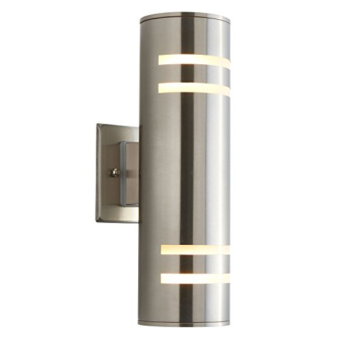 Artika 77-888A Cca V3 Modern 13'' Outdoor Cylinder Light Stainless Steel Weather Resistant, Bulbs Included, Brushed Steel by Artika