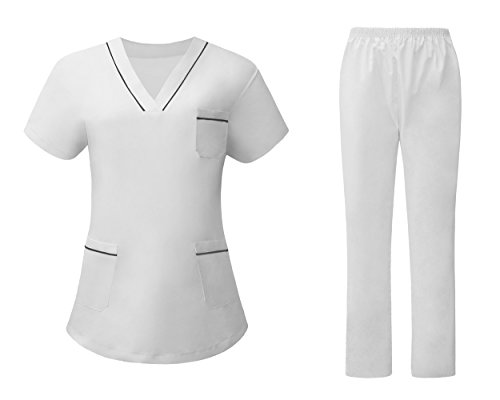 AURNEW Scrubs Medical Uniform Women and Man Scrubs Set Medical Scrubs Top and Pants (white1, L) (Coat Nursing Cotton)