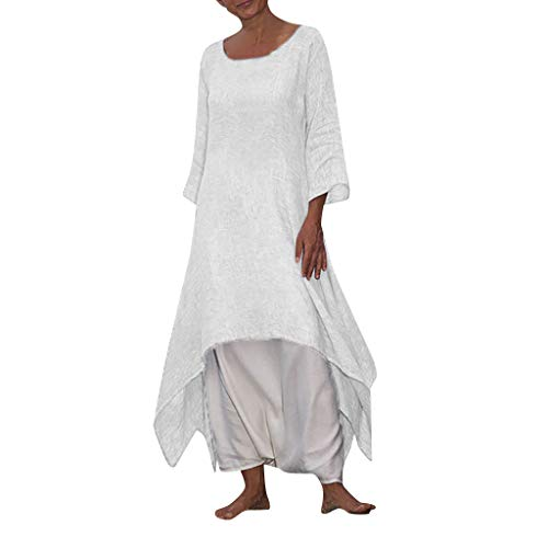 Vintage Boho Women Dress Casual Long Sleeve Crew Neck Dresses Beach Solid Long Double Layers Dress Plus Size White
