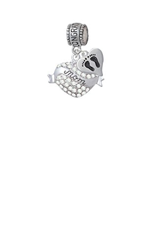 Mom Banner on Clear Crystal Heart Congratulations Charm Hanger with Mini Baby Feet Heart