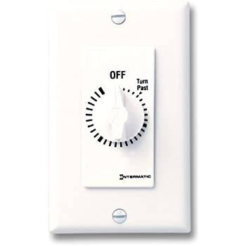 Intermatic FD6HHW 6-Hour Spring-Loaded Wall Timer for Lights and Fans, White