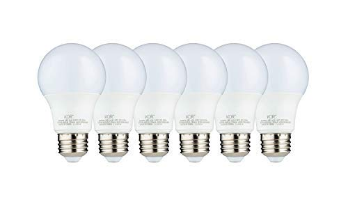 (6 PACK) KOR 9W LED A19 Light Bulb (60W Equivalent), UL Listed, 5000K (Bright White Daylight), 800 Lumens, Non-Dimmable…