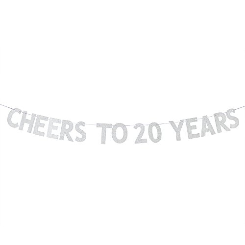 WeBenison Cheers to 20 Years Banner - Happy 20th Birthday Party Bunting Sign - 20th Wedding Anniversary Decorations Supplies - Silver