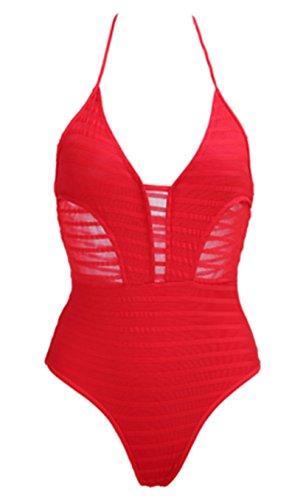 Trajes de Baño Mujer SHUNLIU Traje de Baño Bikini Mujer Atractivo del Color Sólido Bañadores Rojo