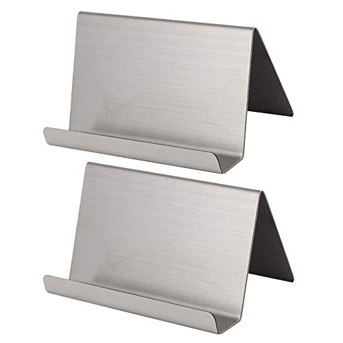 Efanr Stainless Steel Business Cards Holders, 2 Pack Professional Desktop Card Display Business Card Rack Organizer for Office Business (Brushed Nickel)