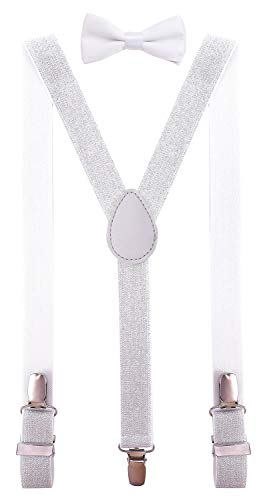 PZLE Men's Bow Tie and Suspenders Set Adjustable Elastic 47 Inches Glitter Silver -