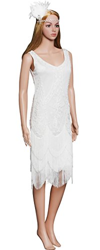 BABEYOND Women's V Neck 1920s Gatsby Embellished Fringed Flapper Dress (Used Flapper Dress)