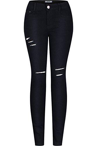 2LUV Women's Stretchy 5 Pocket Destroyed Black Skinny Jeans Black 5