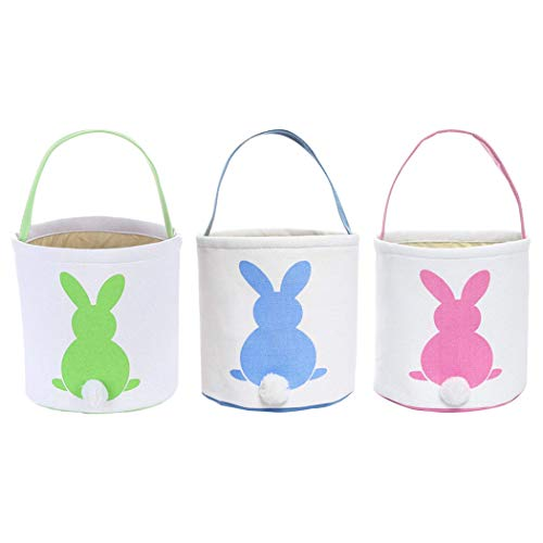 (Easter Egg Hunt Basket for Kids Bunny Canvas Tote - Party's Celebrate Decoration Eggs Candy and Gifts Carry Bucket)