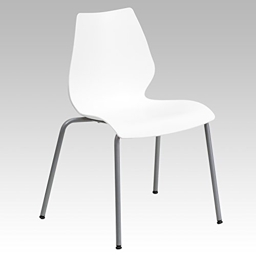 Flash Furniture HERCULES Series 770 lb. Capacity White Stack Chair with Lumbar Support and Silver Frame by Flash Furniture